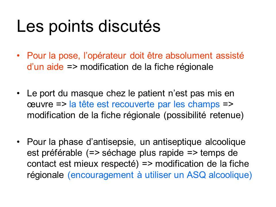 Les points discutés Pour la pose, l'opérateur doit être absolument assisté d'un aide => modification de la fiche régionale.