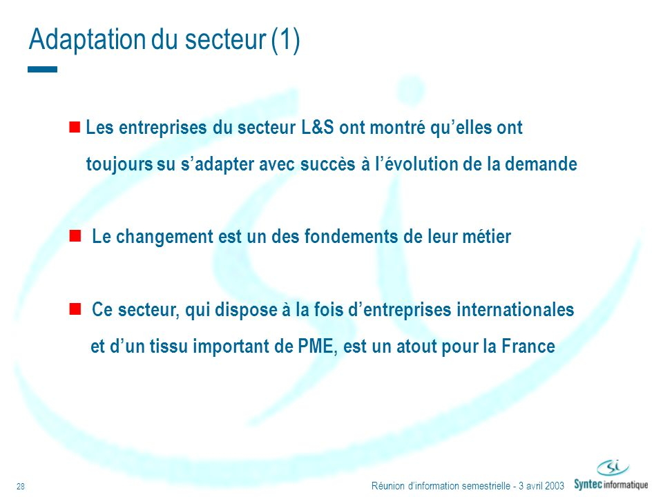 Adaptation du secteur (1)
