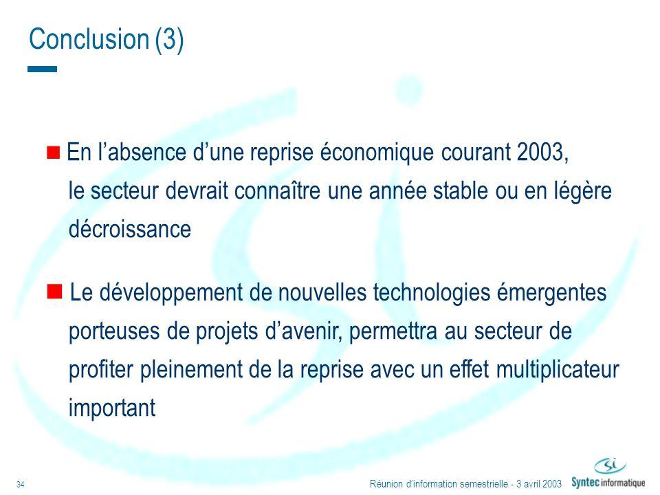 Conclusion (3)En l'absence d'une reprise économique courant 2003, le secteur devrait connaître une année stable ou en légère.