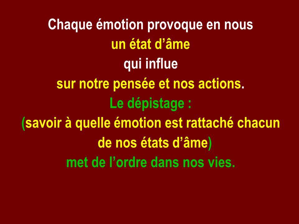 Chaque émotion provoque en nous un état d'âme qui influe