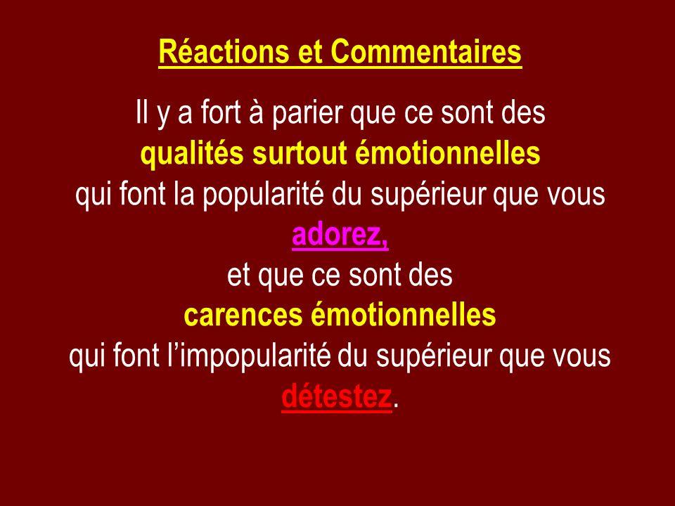 Réactions et Commentaires