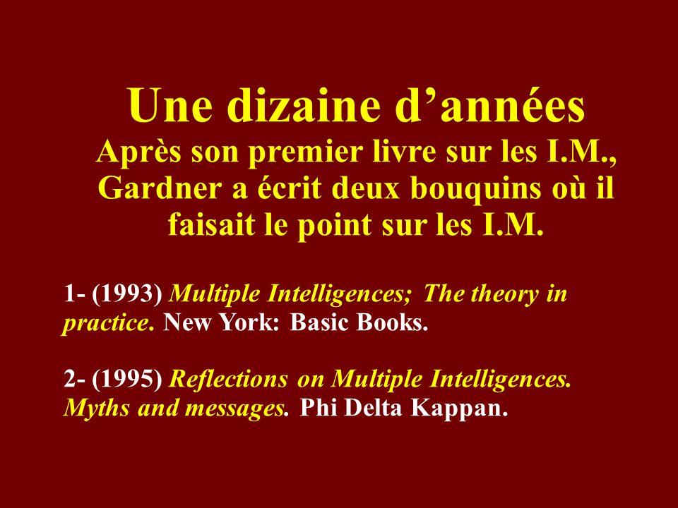 Une dizaine d'années Après son premier livre sur les I.M., Gardner a écrit deux bouquins où il faisait le point sur les I.M.