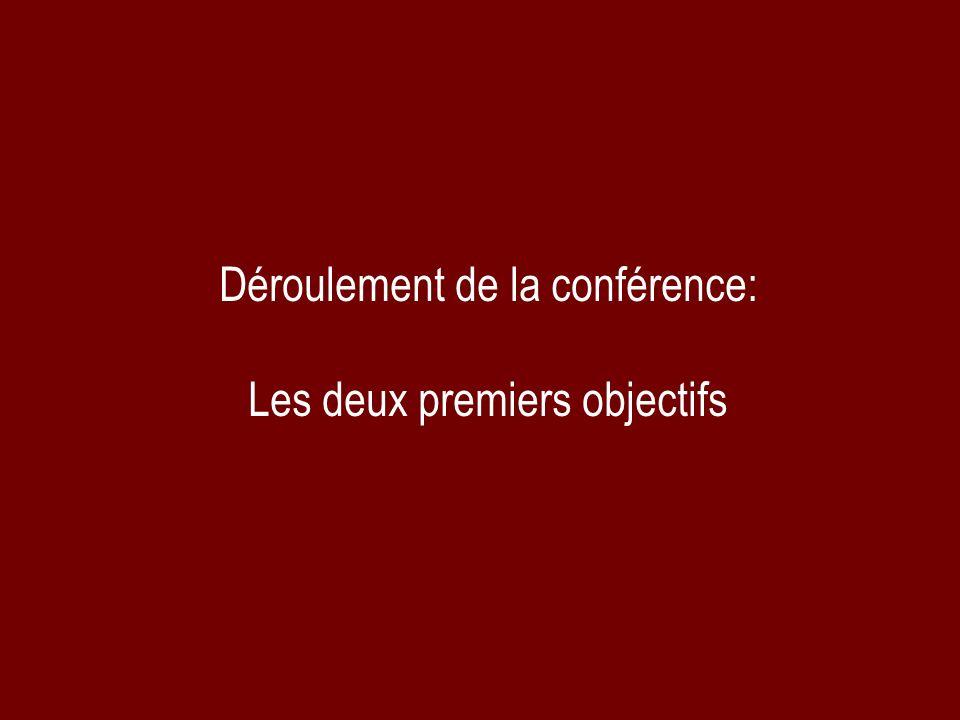 Déroulement de la conférence: Les deux premiers objectifs