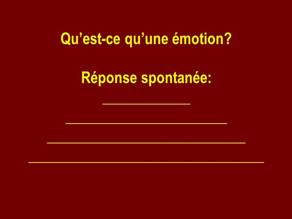 Qu'est-ce qu'une émotion Réponse spontanée: ____________