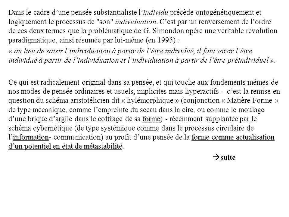Dans le cadre d'une pensée substantialiste l'individu précède ontogénétiquement et logiquement le processus de son individuation. C'est par un renversement de l'ordre de ces deux termes que la problématique de G. Simondon opère une véritable révolution paradigmatique, ainsi résumée par lui-même (en 1995) :