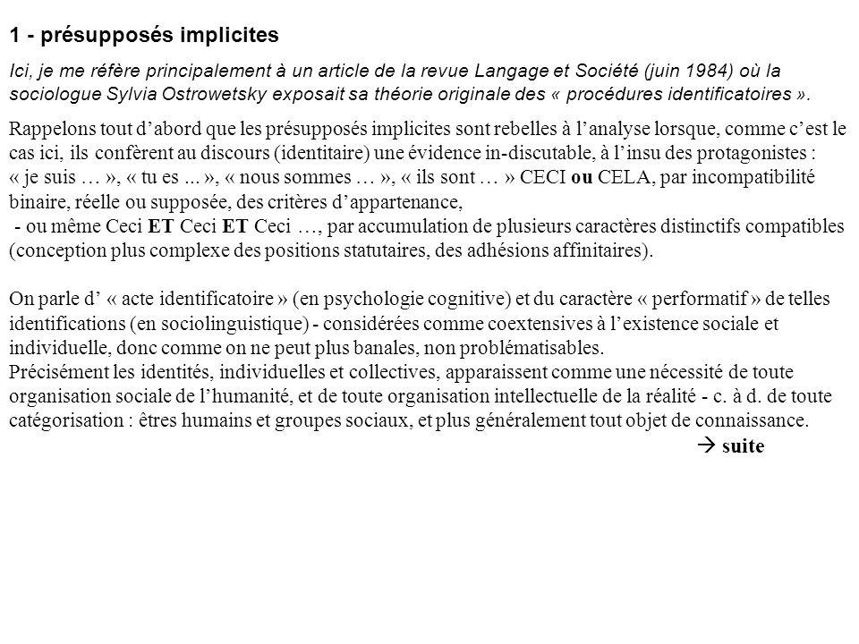 1 - présupposés implicites Ici, je me réfère principalement à un article de la revue Langage et Société (juin 1984) où la sociologue Sylvia Ostrowetsky exposait sa théorie originale des « procédures identificatoires ».
