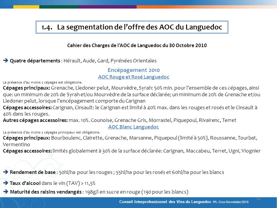 1.4. La segmentation de l'offre des AOC du Languedoc