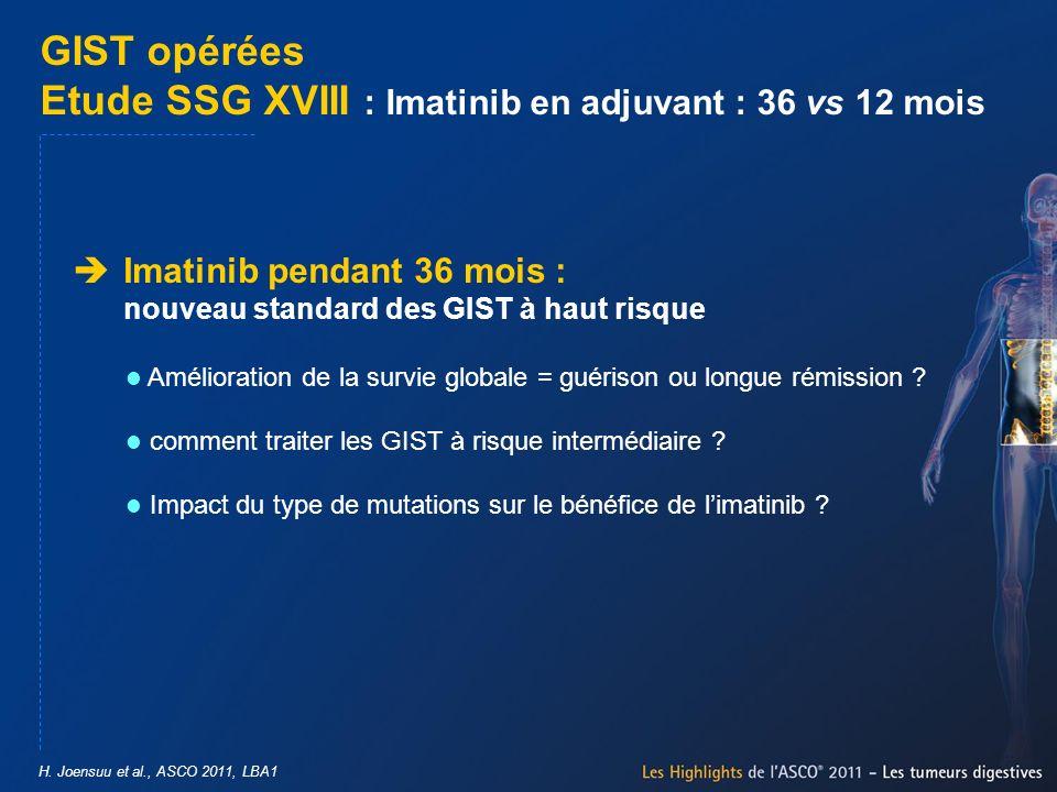 GIST opérées Etude SSG XVIII : Imatinib en adjuvant : 36 vs 12 mois