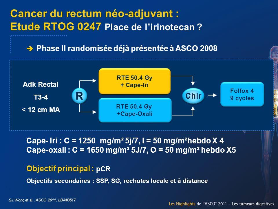 Cancer du rectum néo-adjuvant : Etude RTOG 0247 Place de l'irinotecan