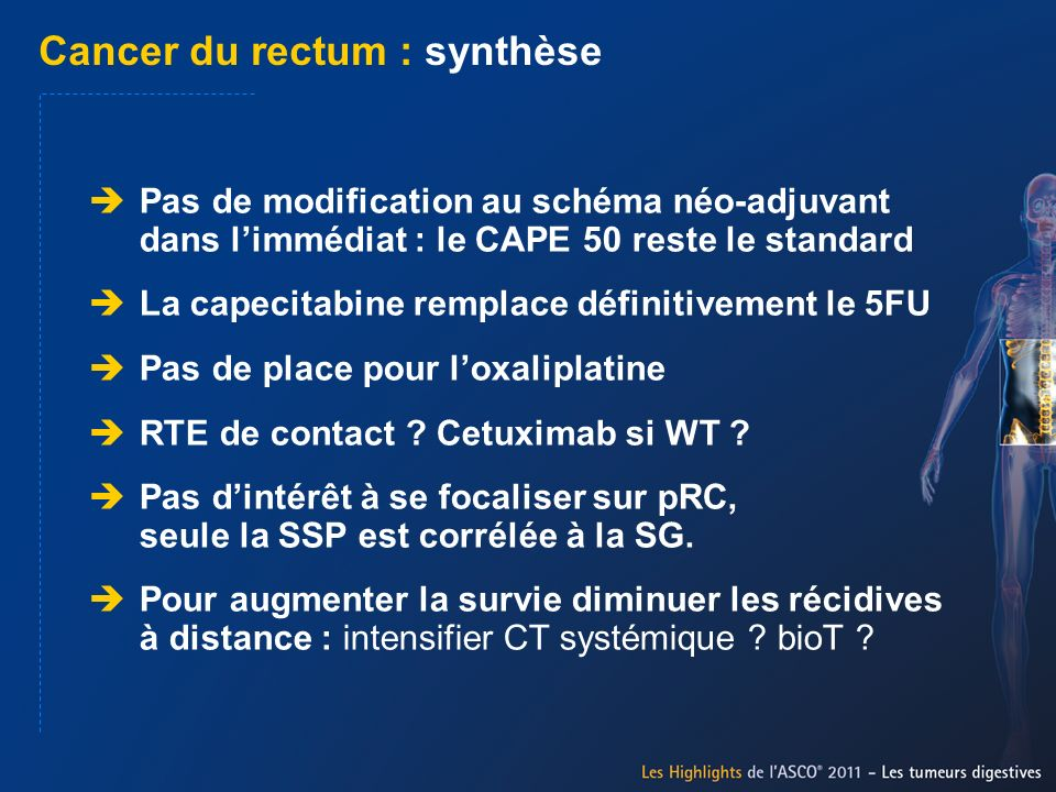 Cancer du rectum : synthèse
