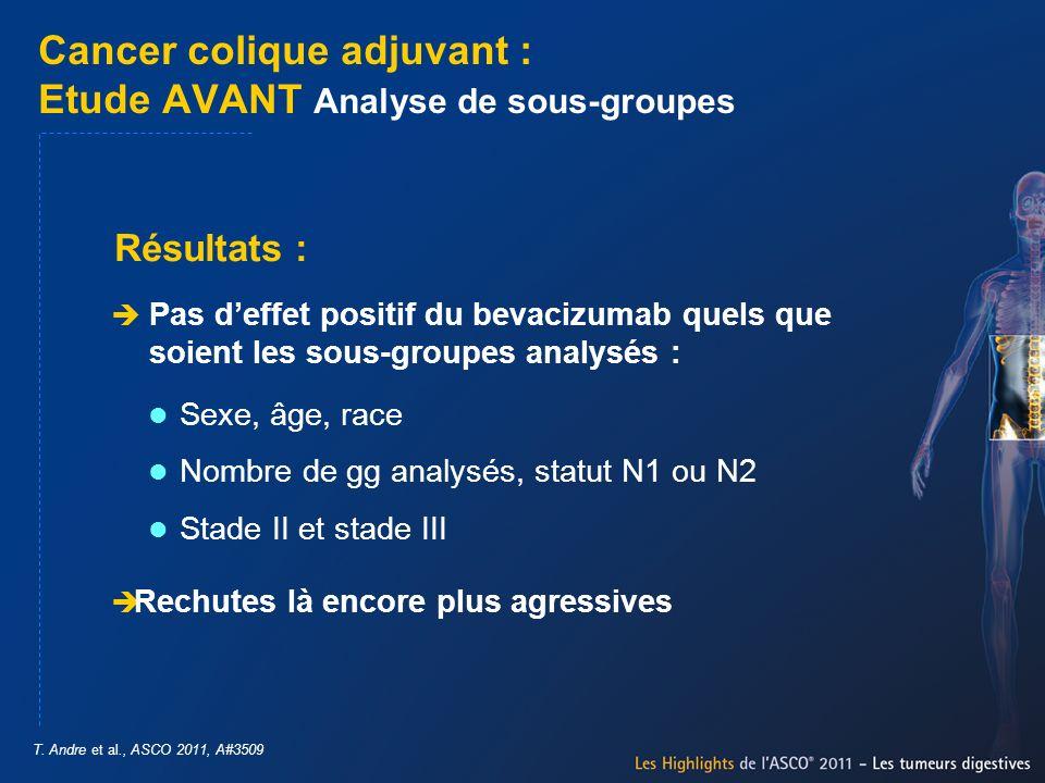 Cancer colique adjuvant : Etude AVANT Analyse de sous-groupes