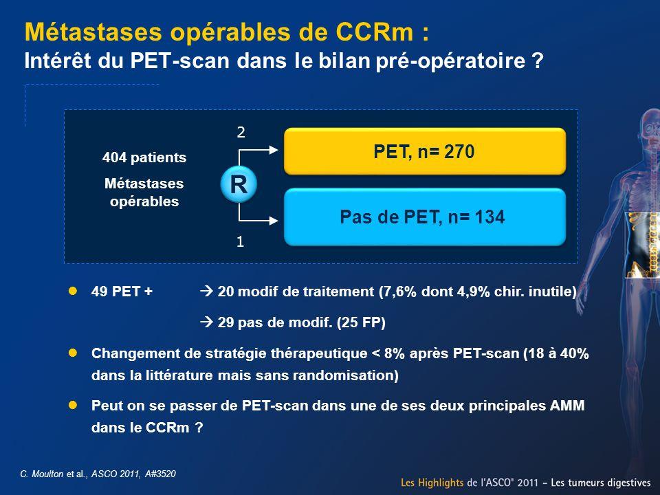 Métastases opérables de CCRm : Intérêt du PET-scan dans le bilan pré-opératoire