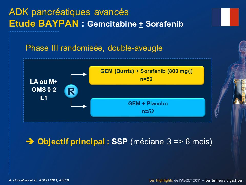 ADK pancréatiques avancés Etude BAYPAN : Gemcitabine + Sorafenib