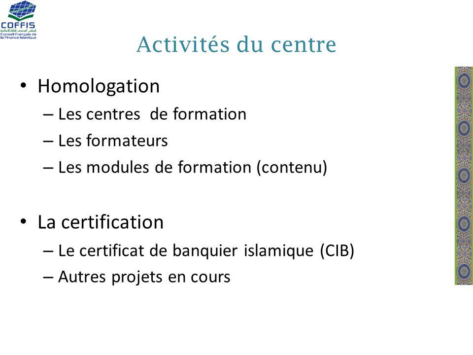 Activités du centre Homologation La certification