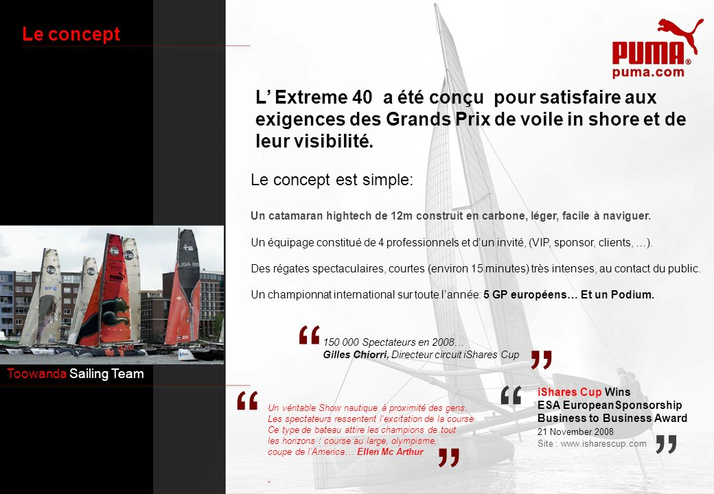 Le conceptL' Extreme 40 a été conçu pour satisfaire aux exigences des Grands Prix de voile in shore et de leur visibilité.