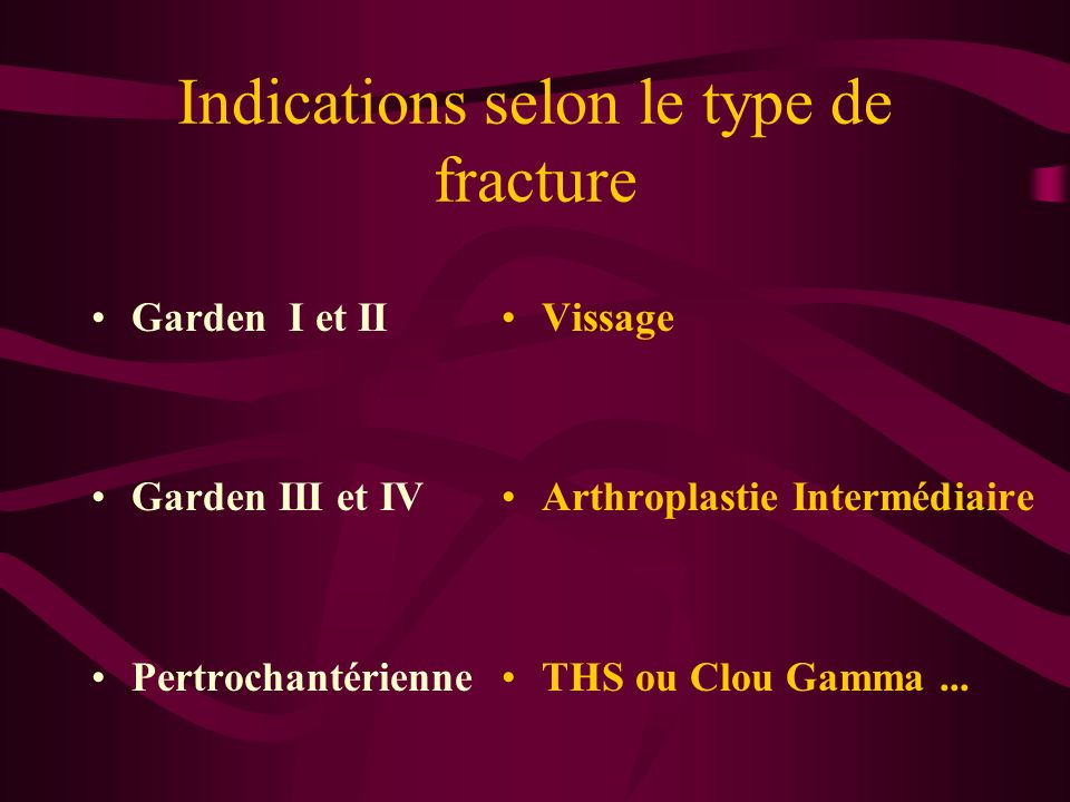 Indications selon le type de fracture