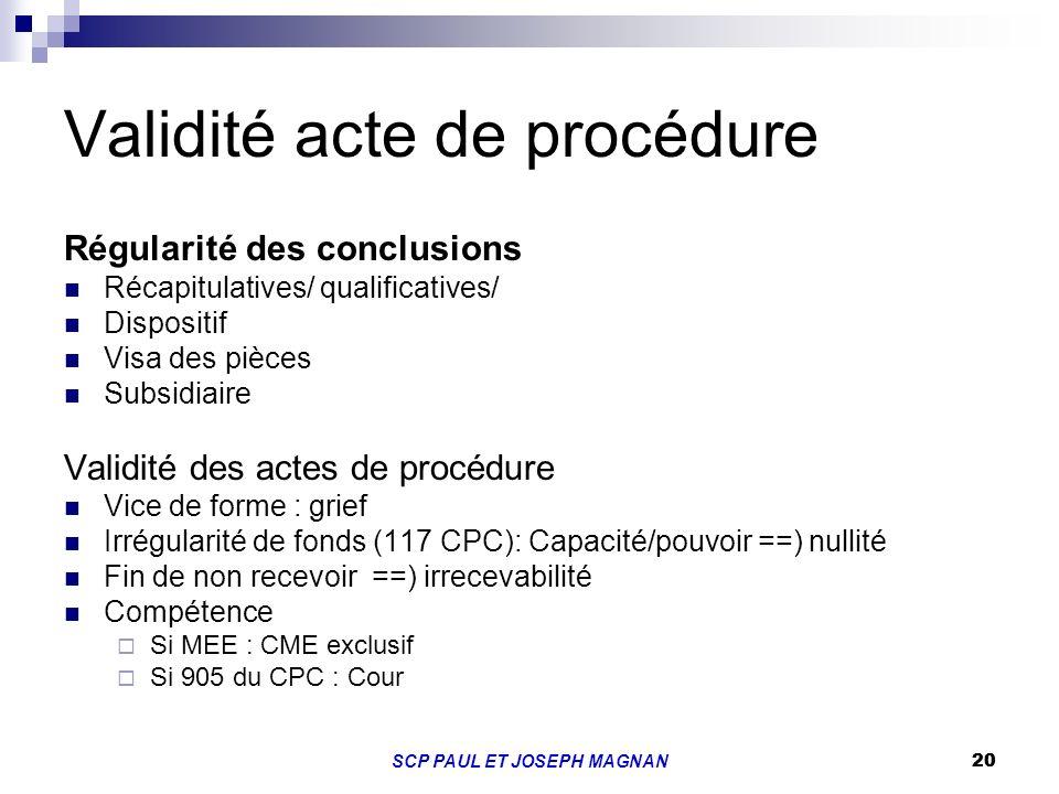 Validité acte de procédure