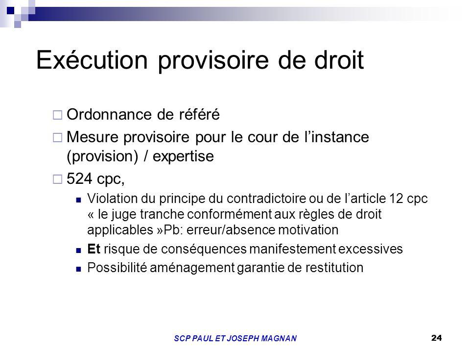 Exécution provisoire de droit