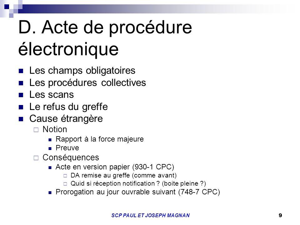 D. Acte de procédure électronique
