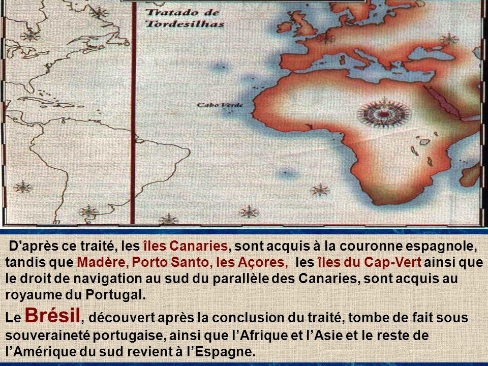 D après ce traité, les îles Canaries, sont acquis à la couronne espagnole, tandis que Madère, Porto Santo, les Açores, les îles du Cap-Vert ainsi que le droit de navigation au sud du parallèle des Canaries, sont acquis au royaume du Portugal.