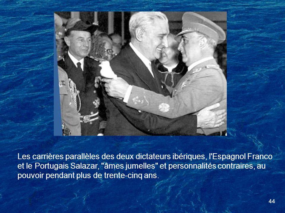 Les carrières parallèles des deux dictateurs ibériques, l Espagnol Franco et le Portugais Salazar, âmes jumelles et personnalités contraires, au pouvoir pendant plus de trente-cinq ans.