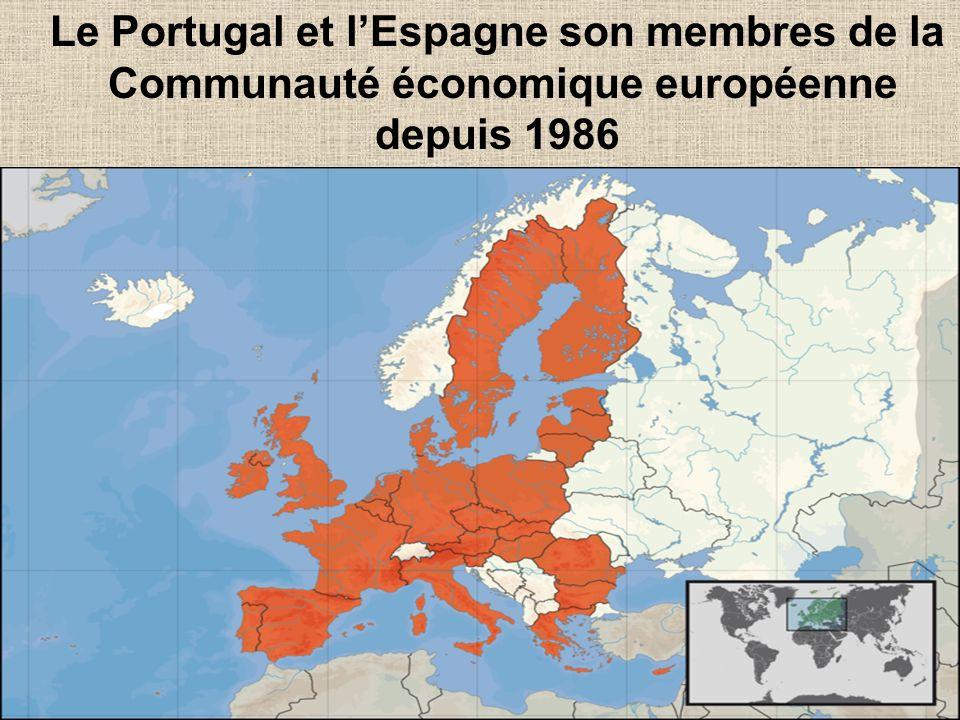 Le Portugal et l'Espagne son membres de la Communauté économique européenne
