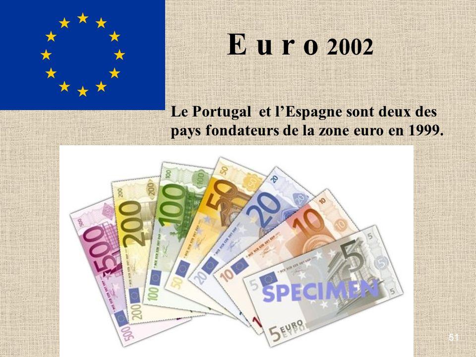 E u r o 2002 Le Portugal et l'Espagne sont deux des pays fondateurs de la zone euro en 1999.