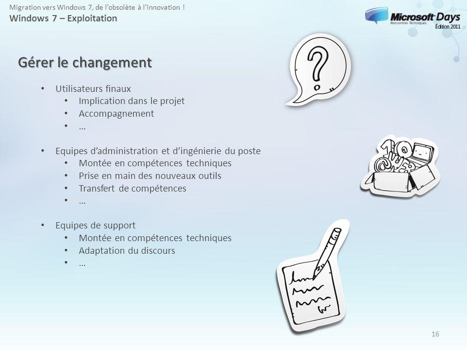 Gérer le changement Windows 7 – Exploitation Utilisateurs finaux