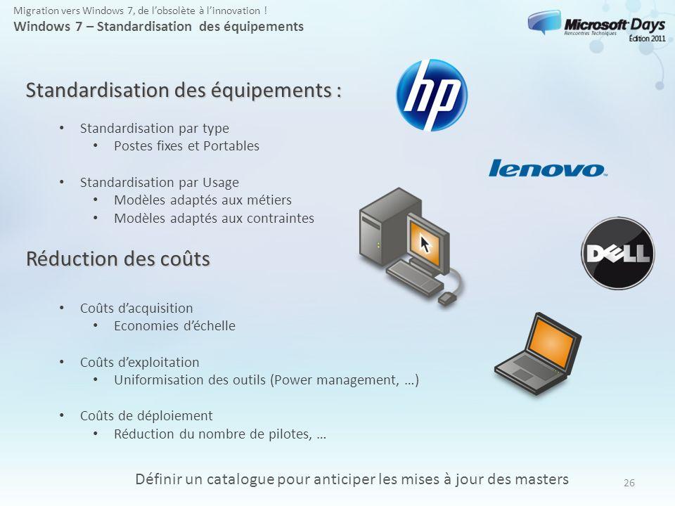 Standardisation des équipements :