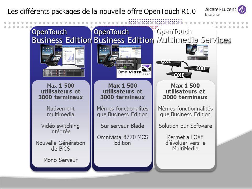 Les différents packages de la nouvelle offre OpenTouch R1.0