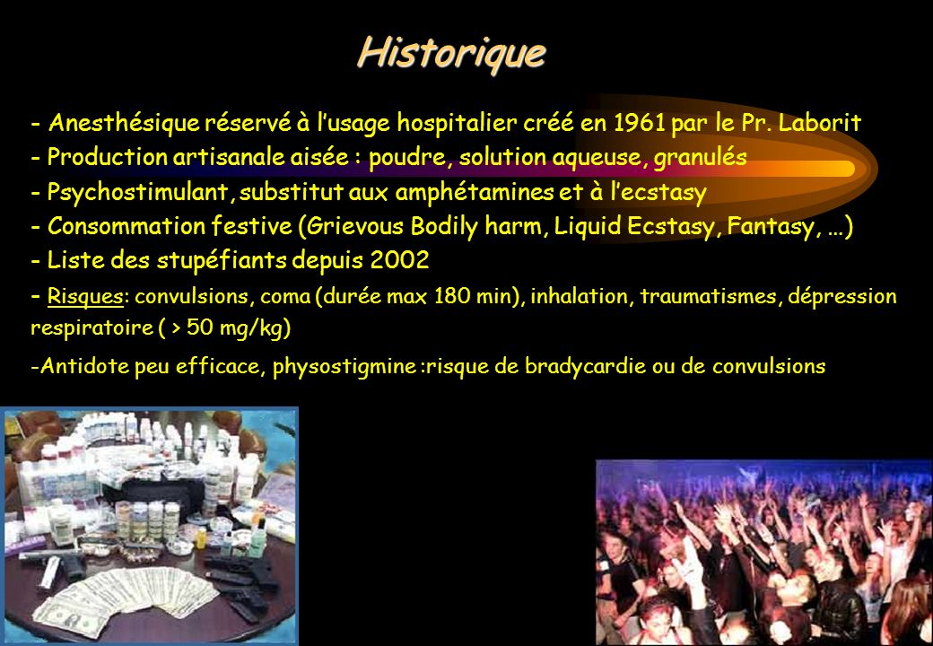 Historique - Anesthésique réservé à l'usage hospitalier créé en 1961 par le Pr. Laborit.