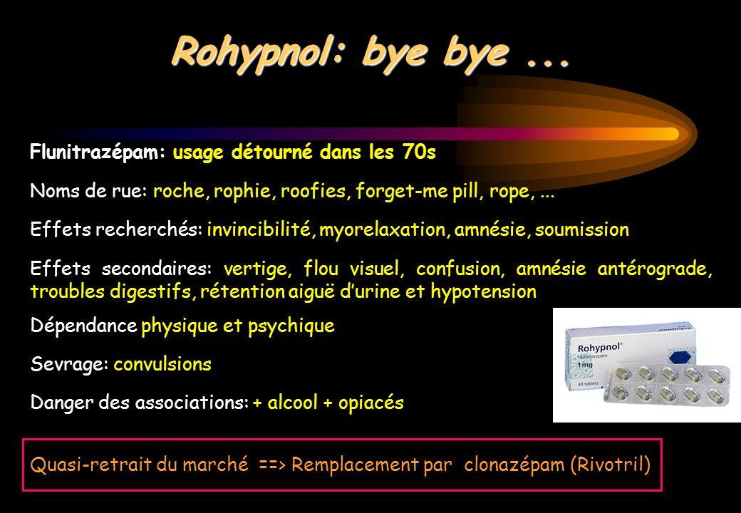 Rohypnol: bye bye ... Flunitrazépam: usage détourné dans les 70s
