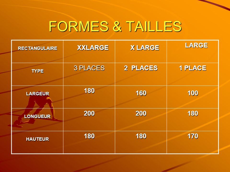 FORMES & TAILLES XXLARGE 3 PLACES 2 PLACES 1 PLACE 180 160 100 200 170
