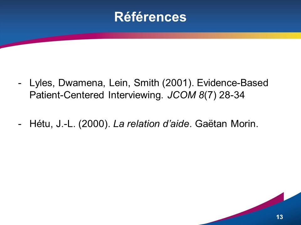 Références Lyles, Dwamena, Lein, Smith (2001). Evidence-Based Patient-Centered Interviewing. JCOM 8(7) 28-34.