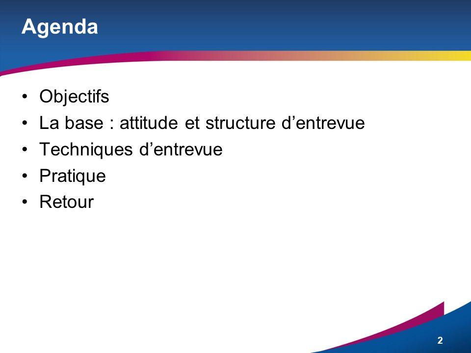 Agenda Objectifs La base : attitude et structure d'entrevue
