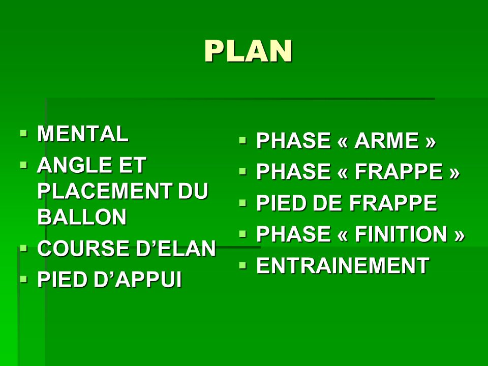 PLAN PHASE « ARME » MENTAL PHASE « FRAPPE »