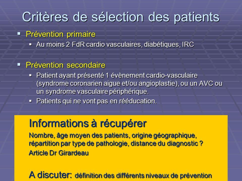 Critères de sélection des patients