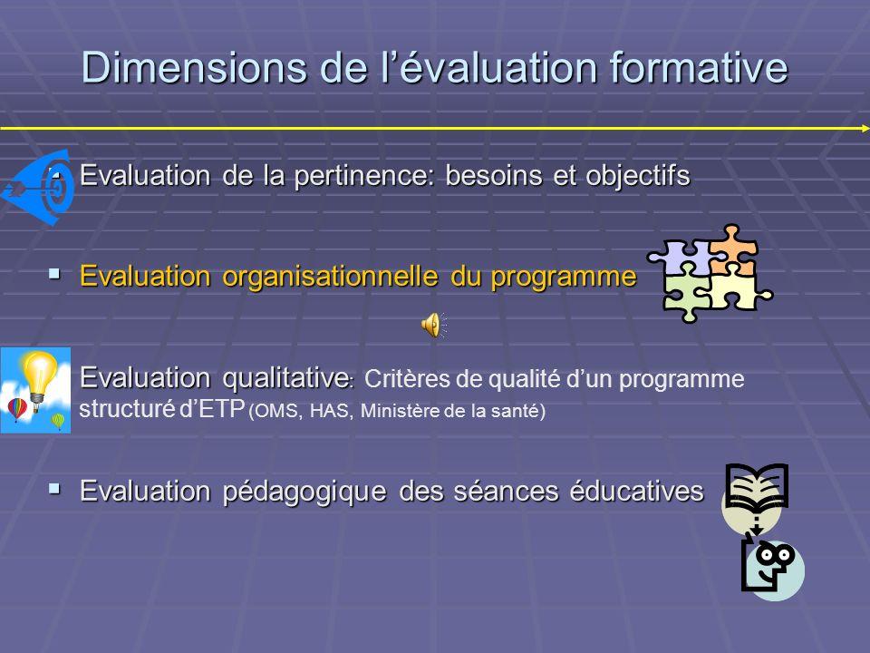Dimensions de l'évaluation formative