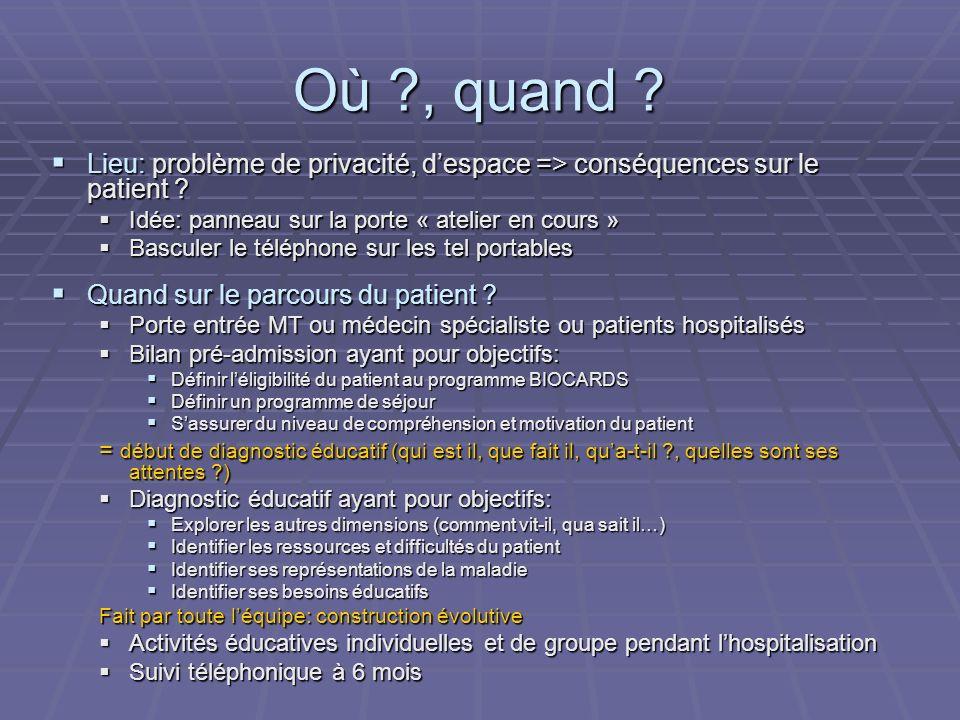 Où , quand Lieu: problème de privacité, d'espace => conséquences sur le patient Idée: panneau sur la porte « atelier en cours »
