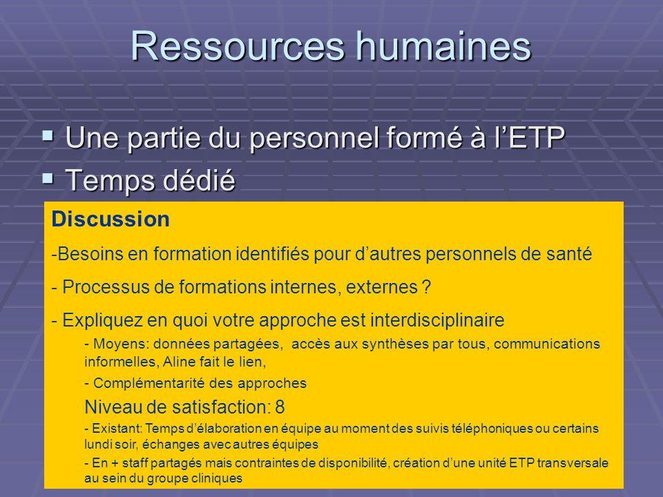 Ressources humaines Une partie du personnel formé à l'ETP Temps dédié