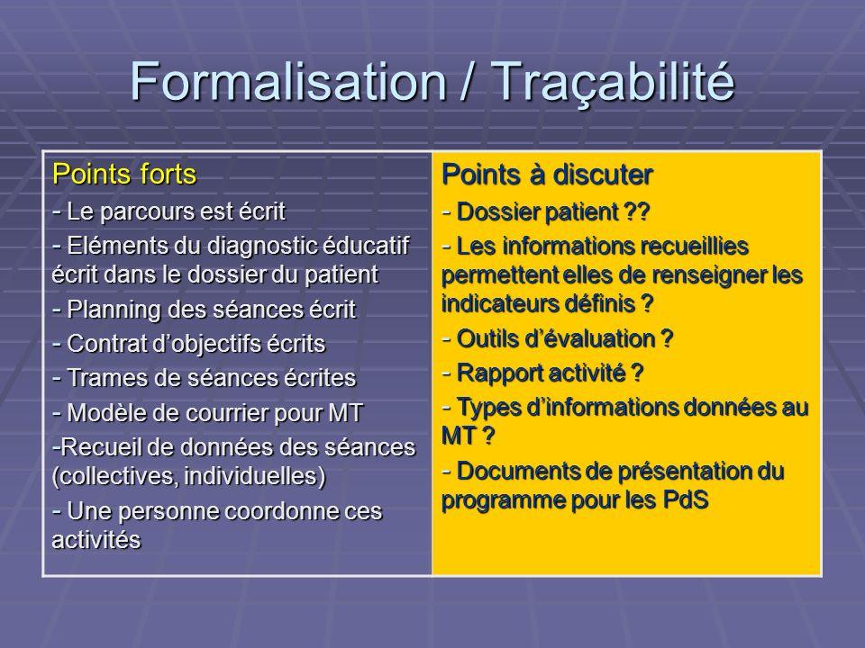 Formalisation / Traçabilité