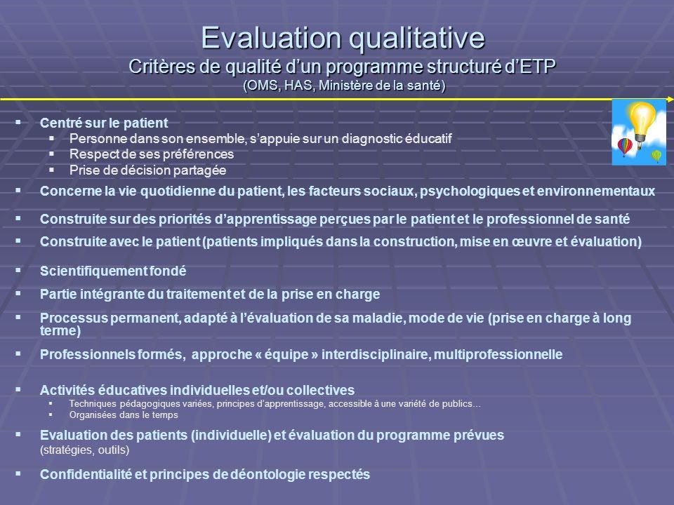 Evaluation qualitative Critères de qualité d'un programme structuré d'ETP (OMS, HAS, Ministère de la santé)
