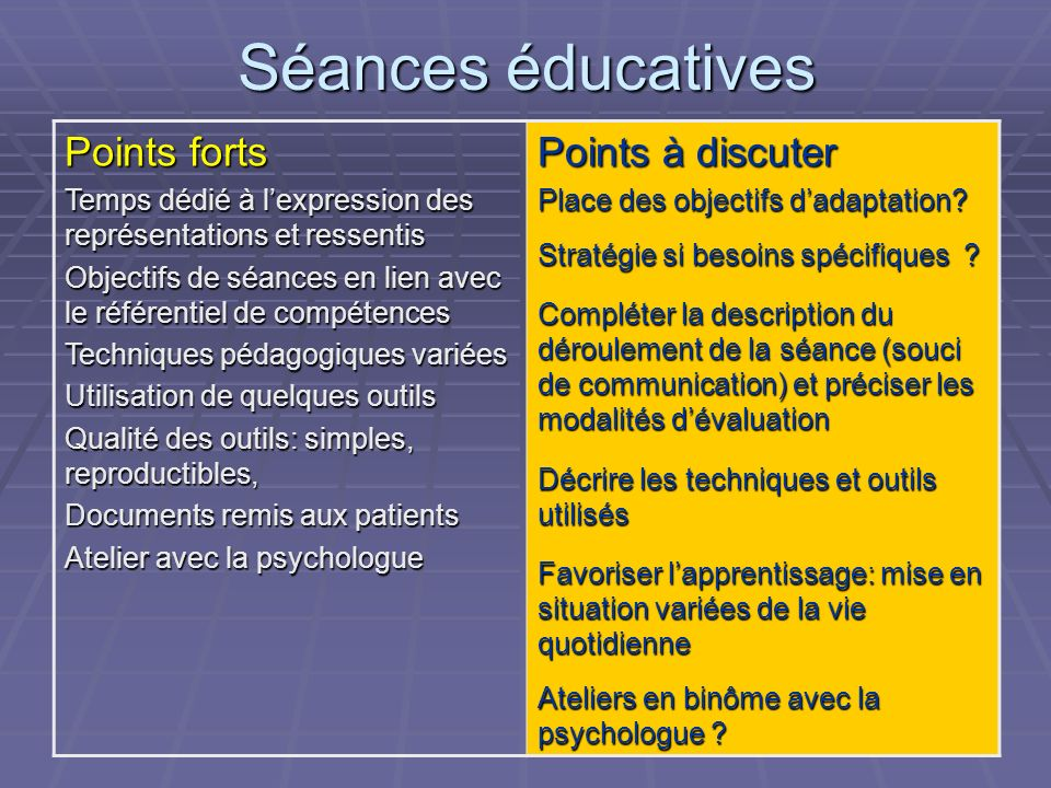 Séances éducatives Points forts Points à discuter