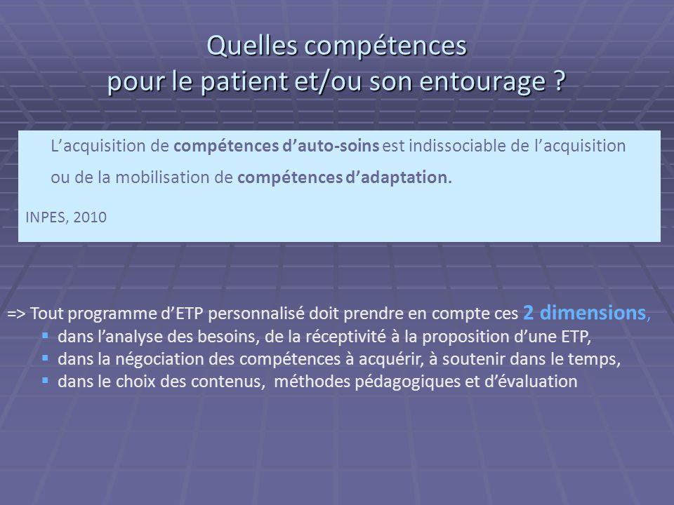 Quelles compétences pour le patient et/ou son entourage