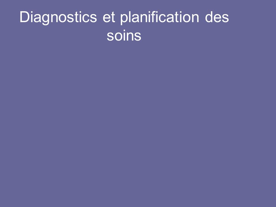 Diagnostics et planification des soins