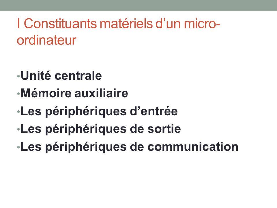 I Constituants matériels d'un micro-ordinateur