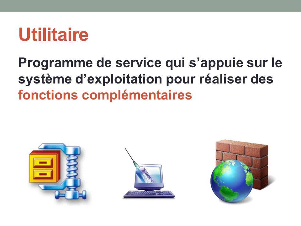 Utilitaire Programme de service qui s'appuie sur le système d'exploitation pour réaliser des fonctions complémentaires.