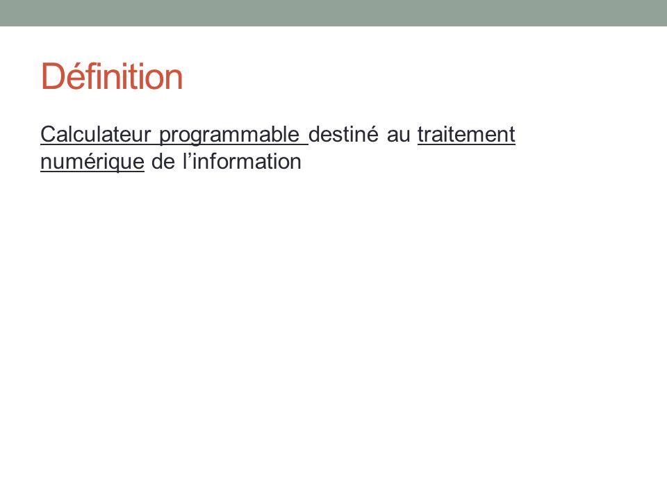 Définition Calculateur programmable destiné au traitement numérique de l'information