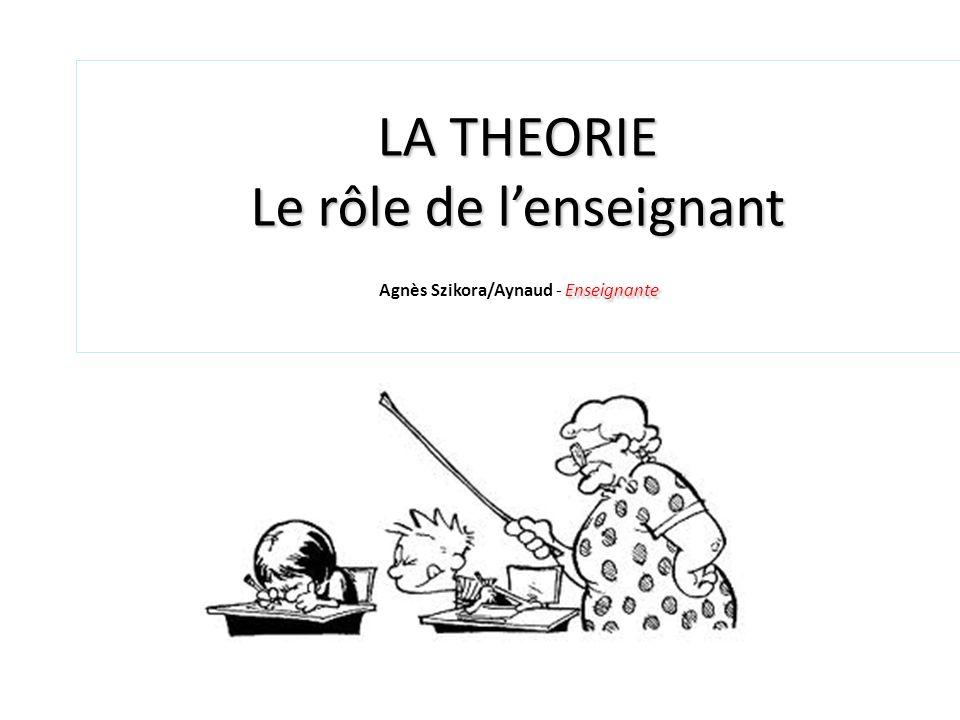 LA THEORIE Le rôle de l'enseignant Agnès Szikora/Aynaud - Enseignante
