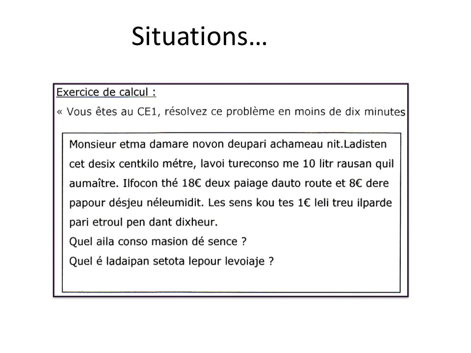 Situations…